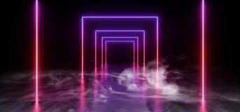 烟紫色蓝色充满活力的霓虹萤光长方形形状的科学幻想小说未来派轨道道路难看的东西水泥光滑的反射性地板 皇族释放例证