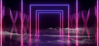 烟紫色蓝色黑暗的充满活力的霓虹萤光长方形形状的科学幻想小说未来派轨道道路难看的东西具体十字形光滑 皇族释放例证