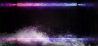 烟线框架科学幻想小说霓虹发光的外籍人太空飞船黑暗的反射性光滑的充满活力的紫色蓝色彩虹室霍尔走廊阶段 向量例证