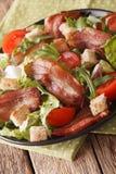 烟肉、蕃茄、油煎方型小面包片和莴苣特写镜头可口沙拉  图库摄影