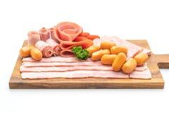 烟肉、香肠、熏制的火腿和烤肉烟肉 免版税库存照片