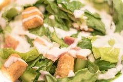 烟肉与切细的Parmeasan乳酪和面包立方体的凯萨色拉 库存照片