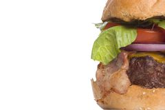 烟肉乳酪汉堡复制左空间 免版税库存图片