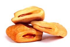 烟肉和乳酪被填装的油酥点心果馅奶酪卷 免版税库存照片