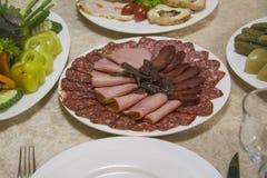 烟肉和意大利辣味香肠 免版税库存图片