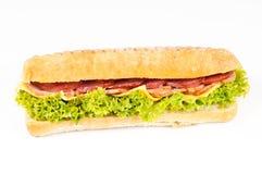 烟肉干酪panini蒜味咸腊肠 图库摄影