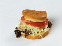 烟肉汉堡用在白色的牛肉小馅饼 库存照片