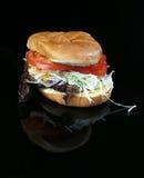 烟肉汉堡用牛肉小馅饼 免版税库存照片
