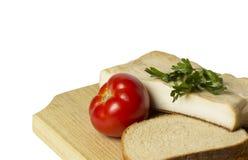 烟肉用蕃茄和面包 免版税库存图片