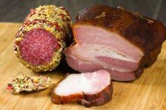 烟肉被包裹的猪肉 库存照片