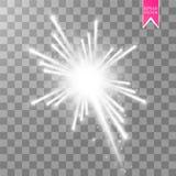 烟花与发光的光线影响在透明背景隔绝的天空担任主角 传染媒介白色欢乐党火箭 皇族释放例证