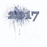 2017烟花例证蓝色和黑难看的东西数字 免版税库存照片
