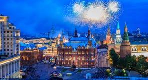 烟花克里姆林宫近莫斯科 免版税图库摄影