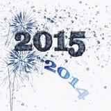 烟花和星新年快乐2015年 免版税库存照片