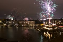 烟花在哥本哈根新年期间 库存图片