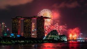 烟花在国庆节,新加坡,一个mordern城市 免版税图库摄影