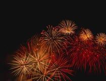 烟花在天空点燃在美好的夜 免版税库存图片