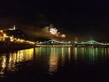 烟花在布达佩斯 库存照片