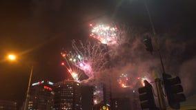 烟花在新年`的s伊芙墨尔本2018年 股票视频