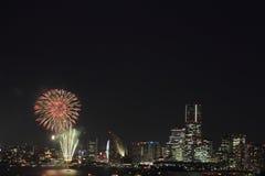 烟花在横滨 免版税库存照片
