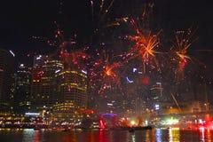 烟花在达令港在澳大利亚天,悉尼 图库摄影