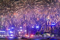 烟花在hk海岛、地平线和财政区, 免版税库存图片