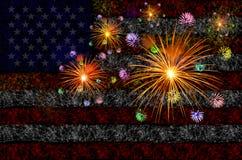 烟花庆祝有美国国旗背景 库存图片