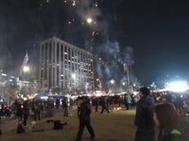 烟花庆祝朴槿惠的弹劾 免版税图库摄影