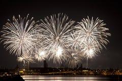 烟花庆祝Redentore (威尼斯,意大利) 免版税库存图片