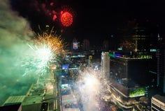 烟花新年庆祝曼谷,泰国- 12月31, 库存图片