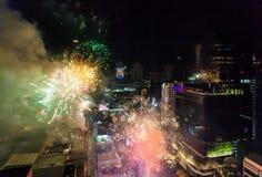 烟花新年庆祝曼谷,泰国- 12月31, 免版税库存图片