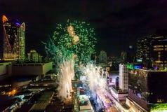 烟花新年庆祝曼谷,泰国- 12月31, 免版税库存照片
