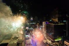 烟花新年庆祝曼谷,泰国- 12月31, 库存照片