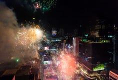 烟花新年庆祝曼谷,泰国- 12月31, 免版税图库摄影