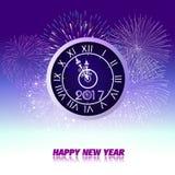 烟花显示与时钟的新年好2017年 皇族释放例证