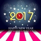 烟花显示与时钟的新年好2017年 向量例证