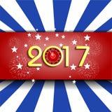 烟花显示与时钟的新年好2017年 库存例证