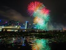 烟花显示在国庆节游行(NDP)预览期间2014年 免版税库存图片