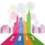 烟花显示在城市上的新年好2017有时钟的 皇族释放例证