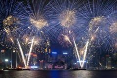 烟花显示在香港2012年 库存照片