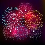 烟花显示新年和所有庆祝传染媒介例证 免版税库存图片