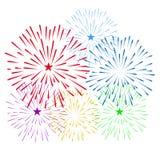 烟花显示新年和所有庆祝传染媒介例证 库存图片