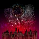 烟花显示新年和所有庆祝例证 库存图片