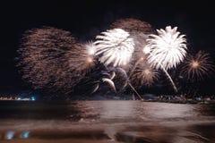 烟花显示,在沿海岸区的夜展示,烟火的节日 安地比斯胡安les别针 免版税库存照片
