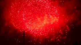 烟花红色闪光  在夜空的五颜六色的烟花 许多闪光 股票录像