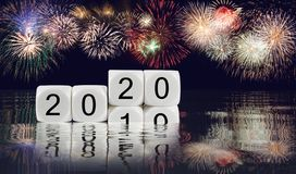 烟花综合新年2020年背景的 库存图片