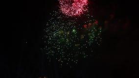 烟花绿色闪光  在夜空的五颜六色的烟花 许多闪光 影视素材