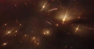 烟花美丽的异想天开的火光在夜空的 巨大夜展示 Quadrocopter从空气离开 股票视频