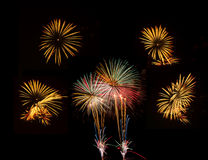 烟花被设置五庆祝的图片 图库摄影