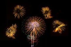 烟花被设置五庆祝的图片 库存图片